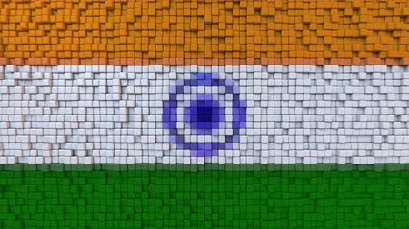 dalgalanan : Stylized mosaic flag of India made of moving pixels, seamless loop motion background
