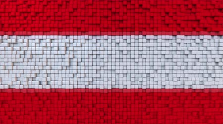 dalgalanan : Stylized mosaic flag of Austria made of moving pixels, seamless loop motion background