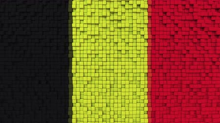 dalgalanan : Stylized mosaic flag of Belgium made of moving pixels, seamless loop motion background Stok Video