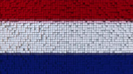 dalgalanan : Stylized mosaic flag of the Netherlands made of moving pixels, seamless loop motion background
