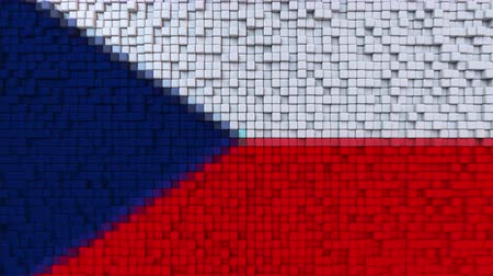 dalgalanan : Stylized mosaic flag of the Czech Republic made of moving pixels, seamless loop motion background Stok Video