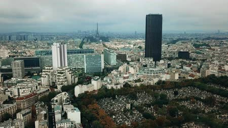 la tour eiffel : Aerial panoramic shot of Paris cityscape and the Eiffel tower as seen from Montparnasse area, France