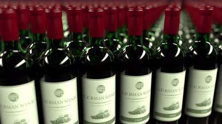 kırmızı şarap : Many bottles of German wine, seamless loop animation