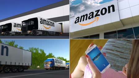 amazonka : Montage collection of Amazon.com company related business activity. Editorial animation