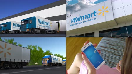 walmart : Montage collection of Wal-Mart Stores company related business activity. Editorial animation