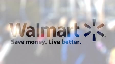 walmart : Walmart logo on a glass against blurred crowd on the steet. Editorial 3D rendering