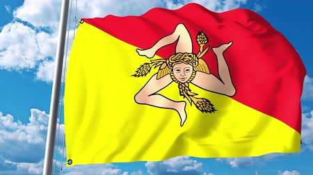 sycylia : Waving flag of Sicily, a region of Italy