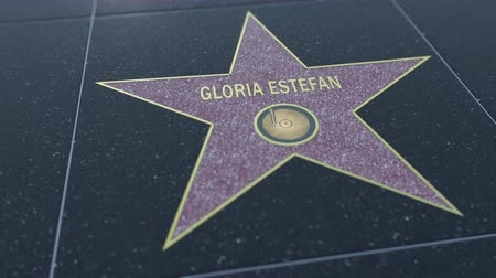 gloria : Hollywood Walk of Fame star with GLORIA ESTEFAN inscription. Editorial clip