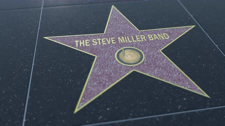 mugnaio : Star di Hollywood Walk of Fame con l'iscrizione STEVE MILLER BAND. Clip editoriale