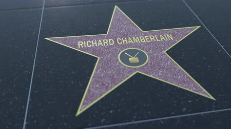richard : Hollywood Walk of Fame star with RICHARD CHAMBERLAIN inscription. Editorial clip