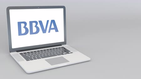 vizcaya : Opening and closing laptop with Banco Bilbao Vizcaya Argentaria BBVA logo. 4K editorial animation