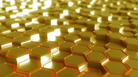 tření : Abstract futuristic hexagonal golden motion background, seamless loop