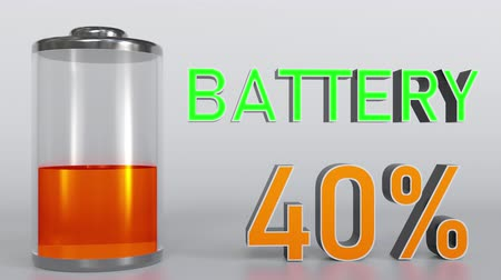 минимальный : Charging battery indicator, 3D rendering Стоковые видеозаписи
