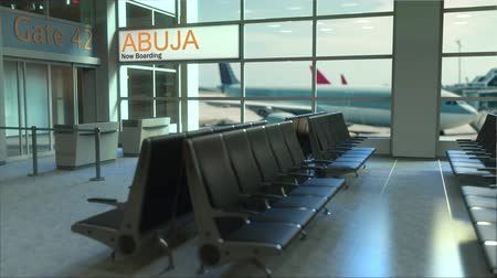 abuja : Abuja flight boarding now in the airport terminal. Travelling to Nigeria conceptual intro animation, 3D rendering