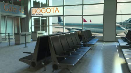 bogota : Bogota flight boarding now in the airport terminal. Travelling to Colombia conceptual intro animation, 3D rendering Stock Footage
