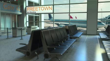 freetown : Freetown flight boarding now in the airport terminal. Travelling to Sierra Leone conceptual intro animation, 3D rendering Stock Footage