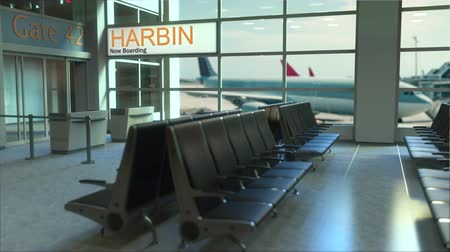 harbin : Harbin flight boarding now in the airport terminal. Travelling to China conceptual intro animation, 3D rendering