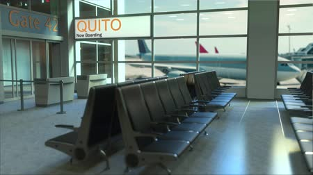 quito : Quito flight boarding now in the airport terminal. Travelling to Ecuador conceptual intro animation, 3D rendering