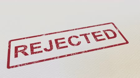 cancellation : Putting REJECTED rubber stamp on the paper. Alpha matte for easy background change Stock Footage
