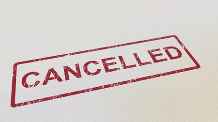 cancellation : Putting CANCELLED rubber stamp on the paper. Alpha matte for easy background change