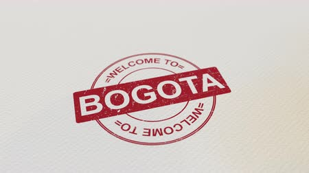 bogota : WELCOME TO BOGOTA wooden stamp animation. Alpha matte for easy background change