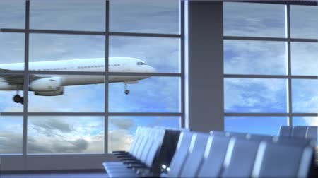 lounge : Commercial airplane landing at Santo Domingo international airport. Travelling to Dominican Republic conceptual intro animation Stock Footage