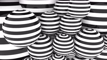 podobný : Abstact glossy black and white striped spheres. Loopable animation