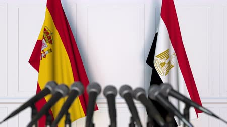 spaniard : Flags of Spain and Egypt at international meeting or negotiations press conference