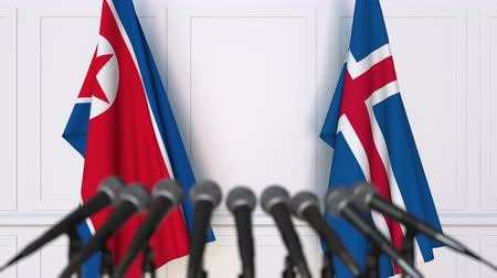 dprk : Flags of North Korea and Iceland at international meeting or negotiations press conference