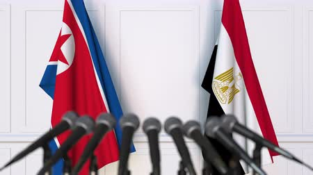 north korean flag : Flags of North Korea and Egypt at international meeting or negotiations press conference