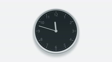pm : Clock on the wall measuring off working hours from 9 a.m. to 6 p.m.