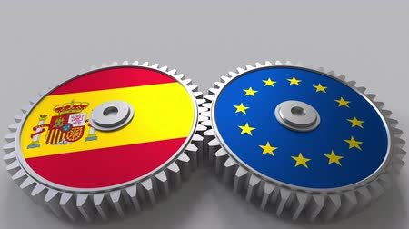 spaniard : Flags of Spain and the European Union on meshing gears. International cooperation conceptual animation