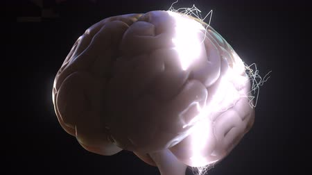 zihinsel : Sparks over human brain. Ideas or brainstorm related conceptual animation