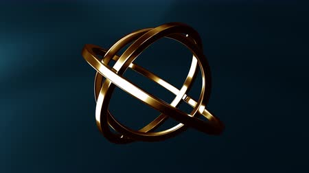 forma tridimensional : Gimbal made of gold. Balance or movement concepts. Loopable animation Vídeos