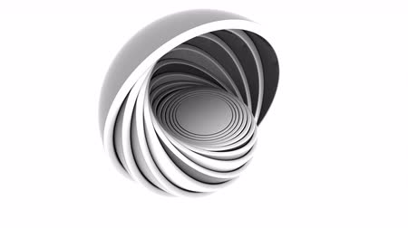 compatibility : Abstract grey and black hemispheres fit each other. Loopable animation