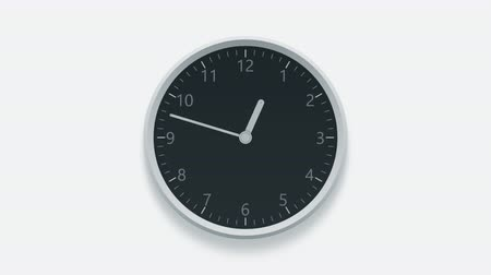 pm : Office clock on the wall measuring off working hours from 10 am to 7 pm Stock Footage