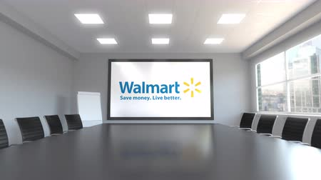 walmart : Walmart logo on the screen in a meeting room. Editorial 3D animation Stock Footage