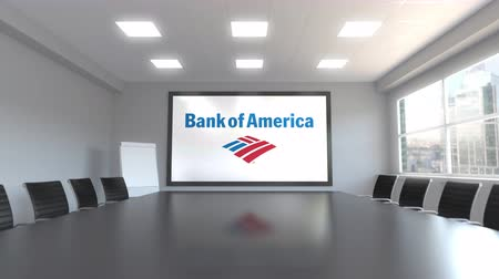 boletim : Bank of America logo on the screen in a meeting room. Editorial 3D animation