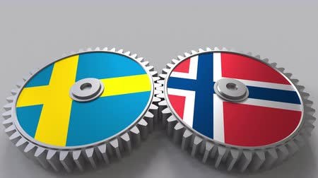 norvégia : Flags of Sweden and Norway on meshing gears. International cooperation conceptual animation