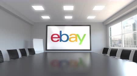 ebay : eBay Inc. logo on the screen in a meeting room. Editorial 3D animation