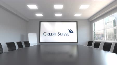 credit suisse : Credit Suisse Group logo on the screen in a meeting room. Editorial 3D animation Stock Footage