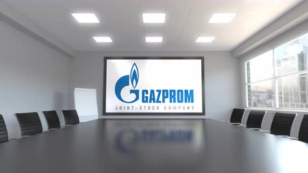 gazprom : Gazprom logo on the screen in a meeting room. Editorial 3D animation Stock Footage