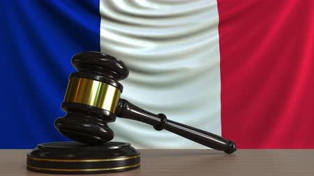 licit : Judges gavel and block against the flag of France. French court conceptual animation