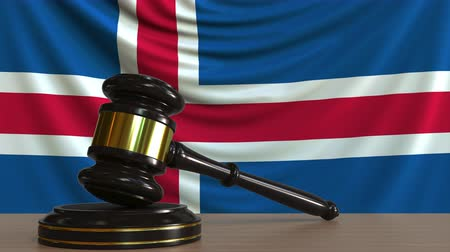 licit : Judges gavel and block against the flag of Iceland. Icelandic court conceptual animation