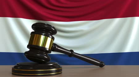licit : Judges gavel and block against the flag of the Netherlands. Dutch court conceptual animation Stock Footage