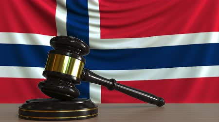 licit : Judges gavel and block against the flag of Norway. Norwegian court conceptual animation