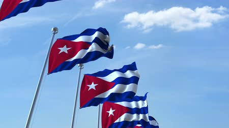 cubano : Waving flags of Cuba against the sky, loopable 3D animation