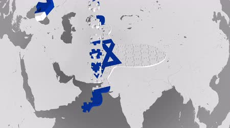континентальный : Airplane puzzle featuring flag of Israel against the world map. Israeli tourism conceptual 3D animation