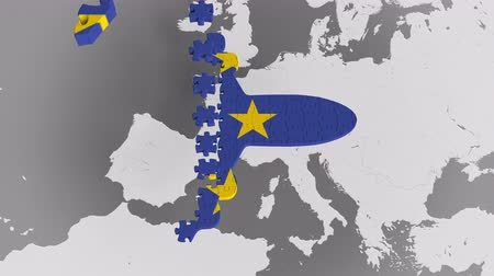 континентальный : Airplane puzzle featuring flag of the European Union against the world map. EU tourism conceptual 3D animation Стоковые видеозаписи