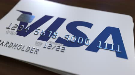 bankomat : Plastic card with logo of Visa Inc. Editorial conceptual 3D animation